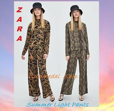 0fb82440 ZARA Printed Textured Wide Leg Mid-Rise New Flowing Summer Pants Sizes: S;