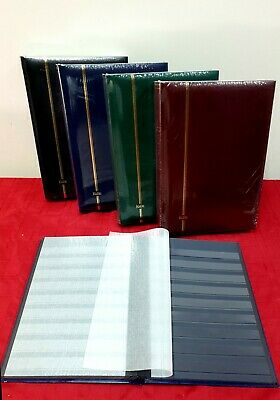 ACC13) KABE Stamp 64 Black Page Stockbook - Padded Cover - Red Green Blue Black
