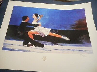 """Bart Forbes art print """" Ice Dancers """" Olympics ice figure skater HAND SIGNED!"""