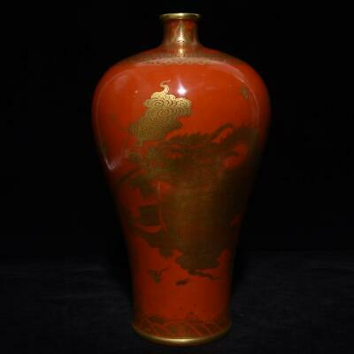 Chinese Exquisite Handmade colorful gold dragon porcelain vase