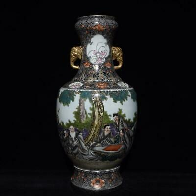 Chinese Exquisite Handmade colorful gold figure story porcelain vase