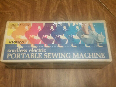 Vintage Ronco Cordless Electric Portable Sewing Machine works
