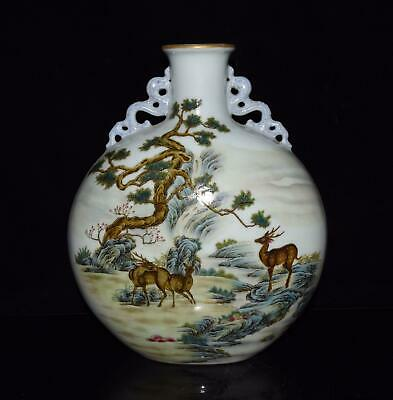 Chinese Exquisite Handmade colorful pine deer crane porcelain vase