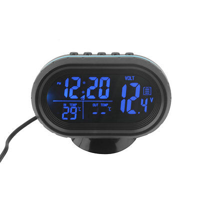 Thermometer Voltage Alarm Clock 12V-24V Black Screen Car Digital LCD Monitor G@