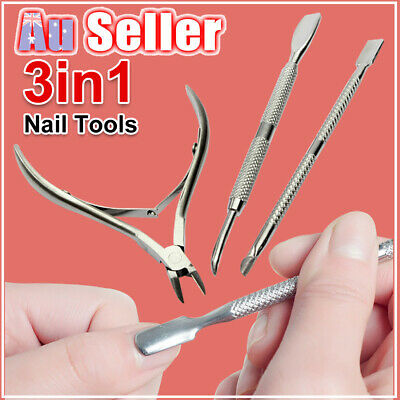 3Pcs Nipper Remover Cutter Clipper Cuticle Set Pusher Trimmer Nail Tools Spoon