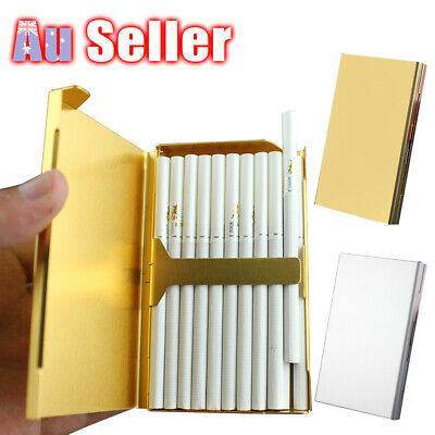 Elegant Cigarette Case S6 Thin Slim Wiredrawing Box Gold 20 Aluminum Holder