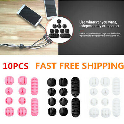 10PCS Self-Adhesive Cable Clips Desk Organizer Cord Management Wire Holder Hot