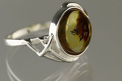 Nice Fossil SPIDER Inclusion Genuine BALTIC AMBER Silver Ring 7.75 r161206-4