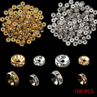 100Pcs/lots Crystal Rhinestone Gold Silver Plated Rondelle Spacer Beads 6mm 8mm
