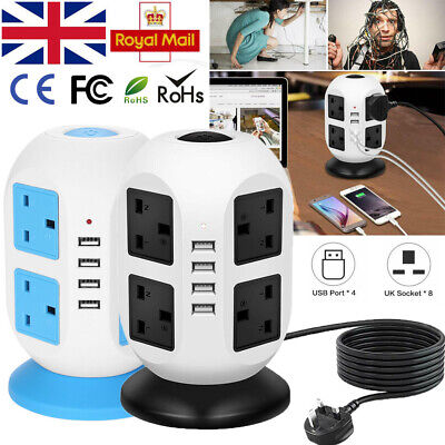 Uk 3M 8 Way 8 Gang Surge Protected Tower Socket Extension Lead Cable With 4 Usb