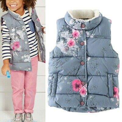 Infant Toddler Kids Winter Warm Waistcoat Baby Girl Outerwear Printed Vest 2-7Y