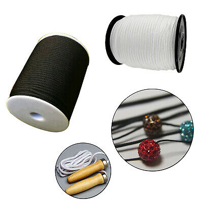 3mm Black White Nylon Cord Draw string Braided Rope Curtain  DIY Craft Jewellery