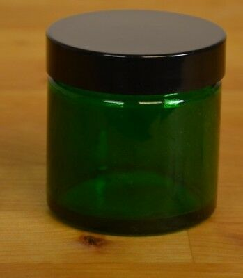 10 green glass jars 60ml volume with black bakelite lids- NEW
