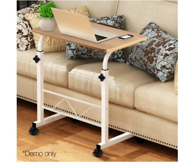 Rolling Laptop Table On Wheels Adjustable Height Portable Computer Desk Office