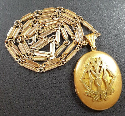 Antique Mourning Large Heavy Gilt Metal In Memory Of IMO Locket And Chain