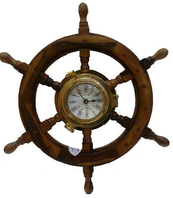 SHIP'S TIME - Wooden & Brass STEERING Clock - LARGE - 100% SATISFACTION