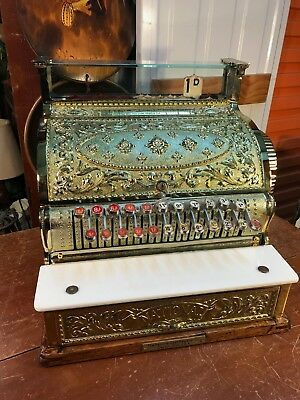 Antique Brass Marble & Timber National Shop Cash Register c1893 Restored