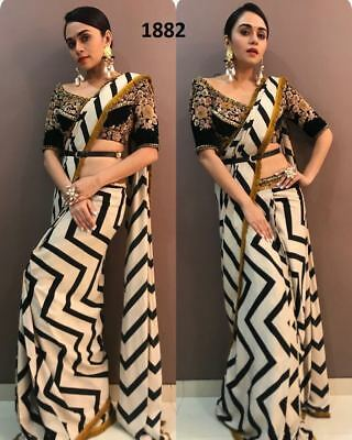 Black White Saree Sari Indian Bollywood Designer Georgette Embroidery Dress Top