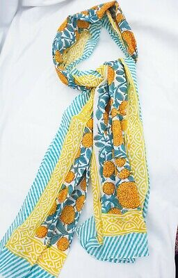 Pure Indian Cotton Fabric Hand Block Print Long Scarf YellowTurquoiseMix Flowers
