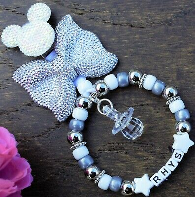 Personalised pram charm in Silver bow Gray beads baby girls boys