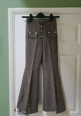 Retro vintage dead stock flared children's trousers flares pants brown tweed