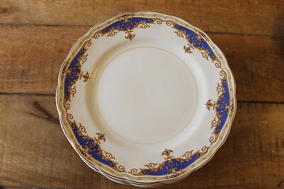 Vintage  GRINDLY Cream petal.JANIQUE Dinner Plate, Blue & gold 10 inches