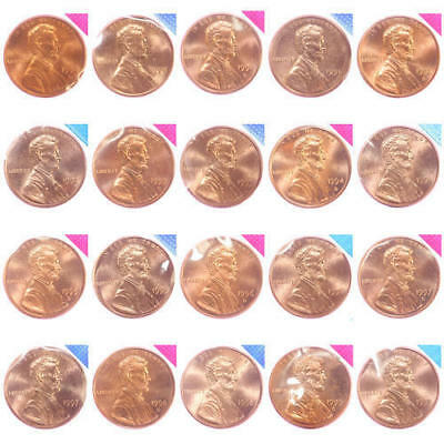 1990-1999 P D Lincoln Memorial Cent BU Mint Cello Run Decade 20 Penny Set
