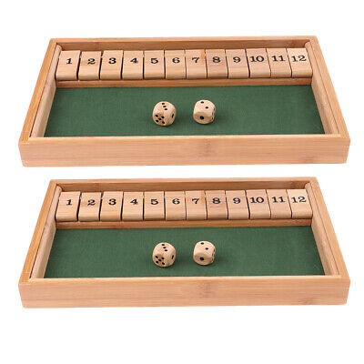 2X Wooden 1-12 Number Shut The Box Dice Board Game for Kids Adults KTV Play