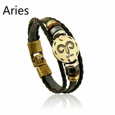 Unisex PU Leather Weave Bracelet Pendant Constellation Zodiac Jewelry Wristband