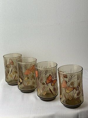 Vintage Monarch Butterfly Smoky Drinking Juice Glasses Set Of 4 By Libbey