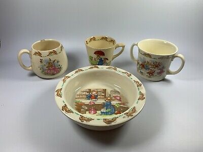 Bunnykins by Royal Doulton Fine China Set, Cups and Bowl 16cm Across