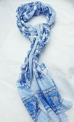 Pure Indian Cotton Fabric Hand Block Print Long Scarf Blue Mix Paisley