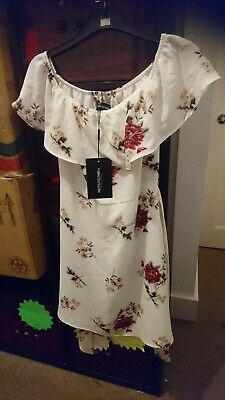 White Red Pink Beige Round Neck floral Dress Size 10 New With Tags