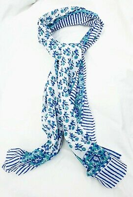 Pure Indian Cotton Fabric Hand Block Print Long Scarf Blue Turquoise Mix Floral