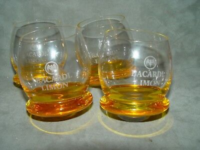 4 Bacardi Limon Rocks Glasses Yellow Roly Poly Rounded Bottom 4oz