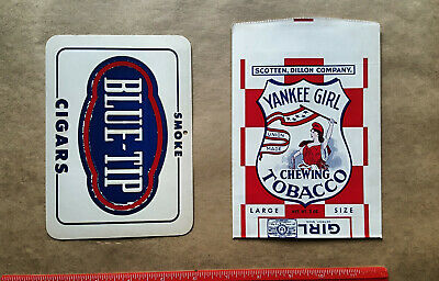 TWO Items - Vintage Chewing Tobacco Bag YANKEE GIRL & Blue Tip Cigars - NOS