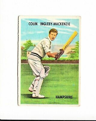 Cricket : Colin Ingleby Mackenzie : A + B C Cricketers gum card 1959