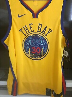 1688bccefef6 Nike Stephen Curry Golden State Warriors THE BAY Chinese New Year Jersey  2XL 56