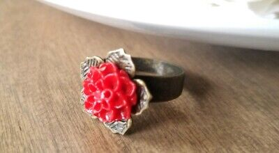 Red Dahlia Ring Bronze Adjustable Band Flower filigree cabochon