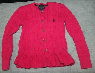 cb19422490af35 Ralph Lauren Girls Button Down Cable Knit Sweater Size 5 Fuchsia Pink