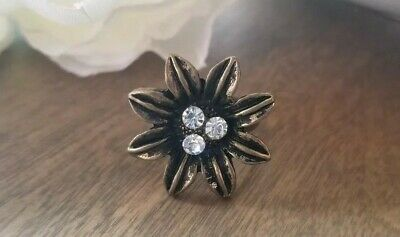 Flower Ring Bronze Adjustable Band Crystal filigree cabochon