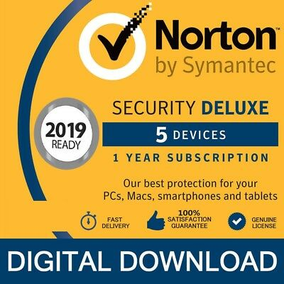 Norton Internet Security DELUXE 2019 5 Devices 1 Year - PC/Mac/Android Licence