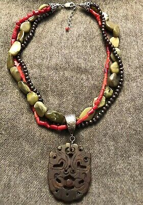 Sterling Silver 925 Coral / Pearl /  Carved Jade Pendant Necklace Fu Foo Dog