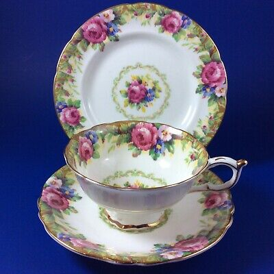 Paragon Tapestry Rose Bone China Tea Cup And Saucer Trio