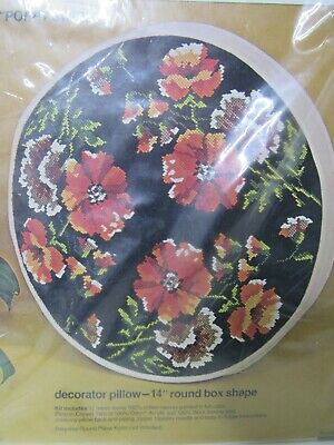 "New Sealed Bucilla Needlepoint Kit 4767 Poppy Swirl Decorator Pillow 14"" Round"