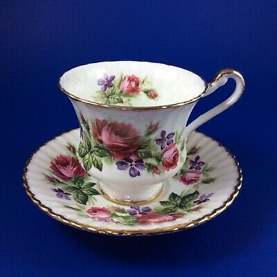 Paragon Red Roses And Purple Violets Bone China Tea Cup And Saucer