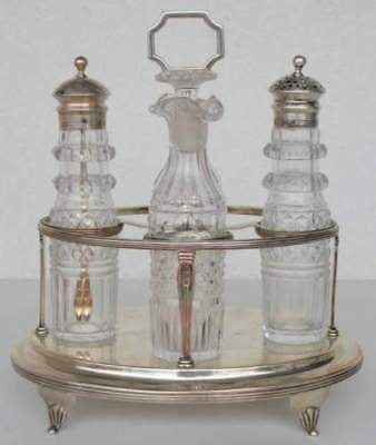 Solid silver Georgian cruet set – London 1802