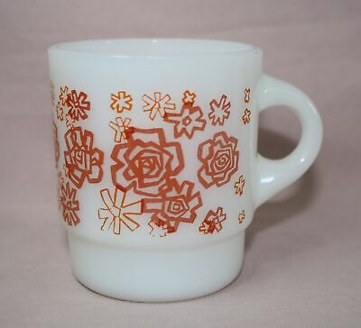 Fire-King  White Glass- Red/Orange Floral  Cup  Anchor Hocking Vtg.