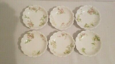 Theodore Haviland Limoges 6 Butter Pats Scalloped Edge Pink White Floral France
