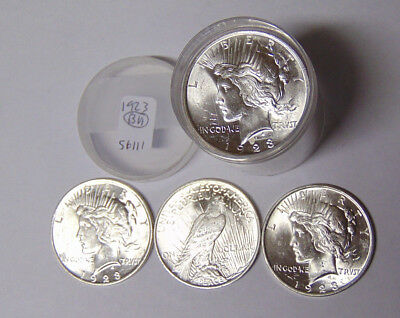 BU Roll 1923 Peace Silver Dollars 20 Uncirculated Philadephia Mint Coins
